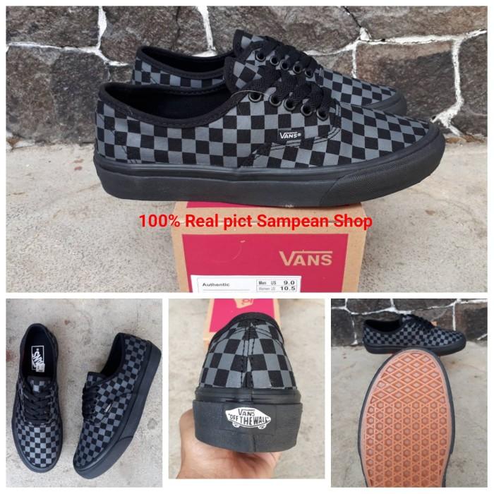 Sepatu Vans Authentic Mono Catur Checkerboard Full Black Premium Ori 594f4eacda