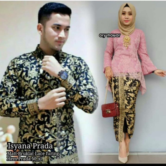Kebaya Broklat Couple   Sarimbit Batik Couple Isyana Prada Brokat Pj 9eb901dbcd