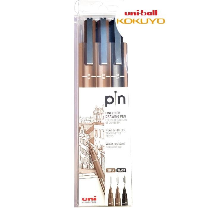 harga Uni pin-200-3c drawing pen new !!! set isi 3 pcs 2color 2size Tokopedia.com