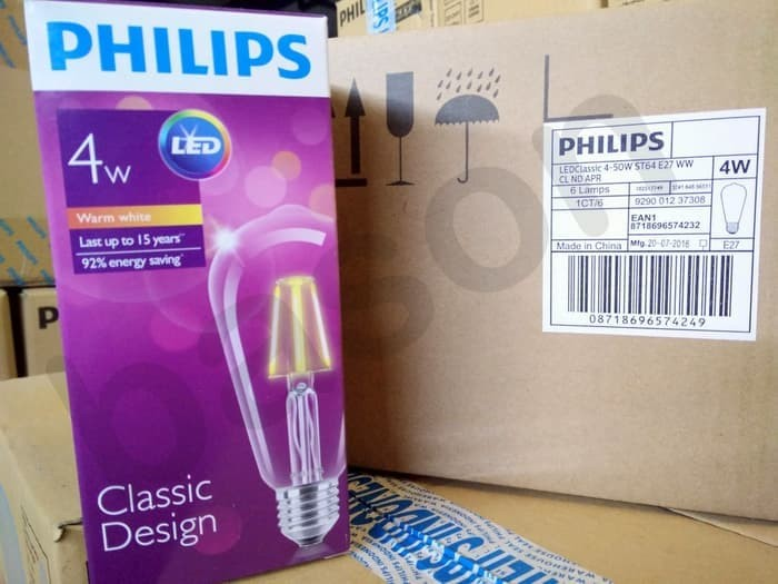 New PHILIPS LED Classic 4W E27 ST64 Warm White - Decorative LED