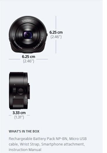 Sony Smart Lens Cyber Shot DSC-QX10 / Pasangan Lensa Kamera untuk