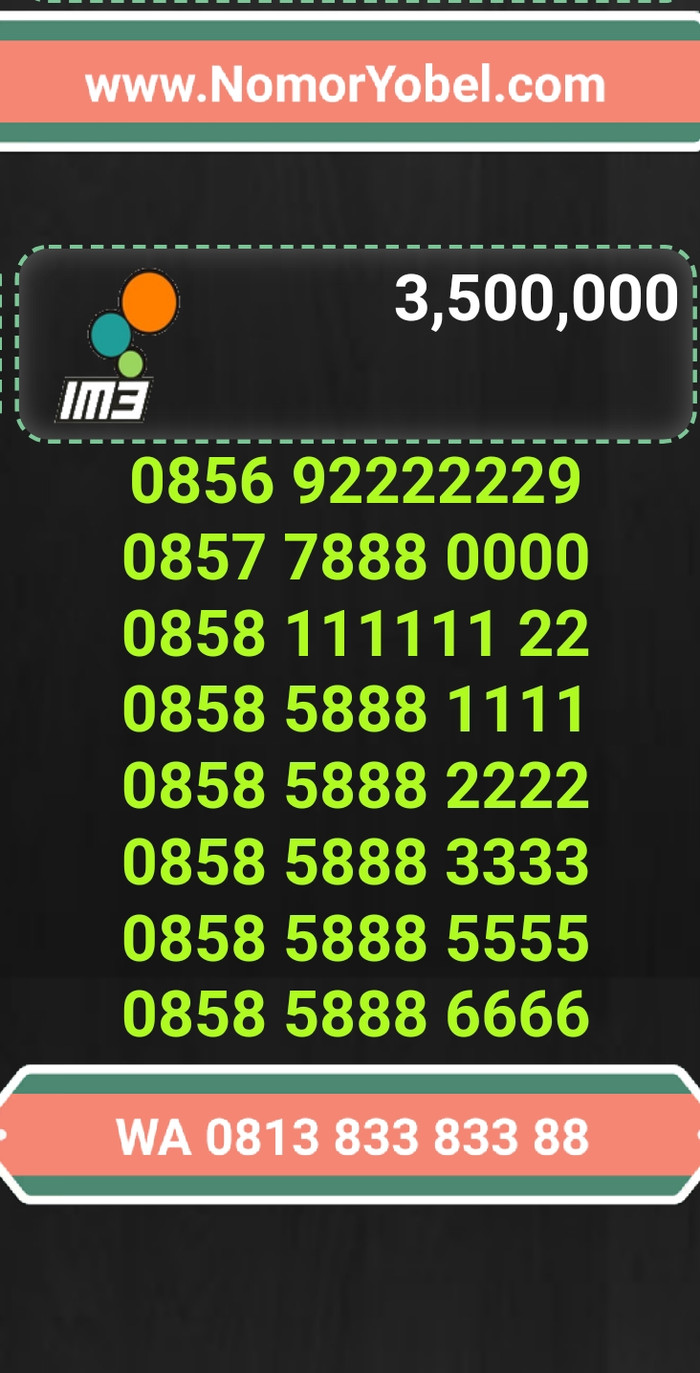 Nomor cantik indosat kartu perdana im3 mentari ooredoo