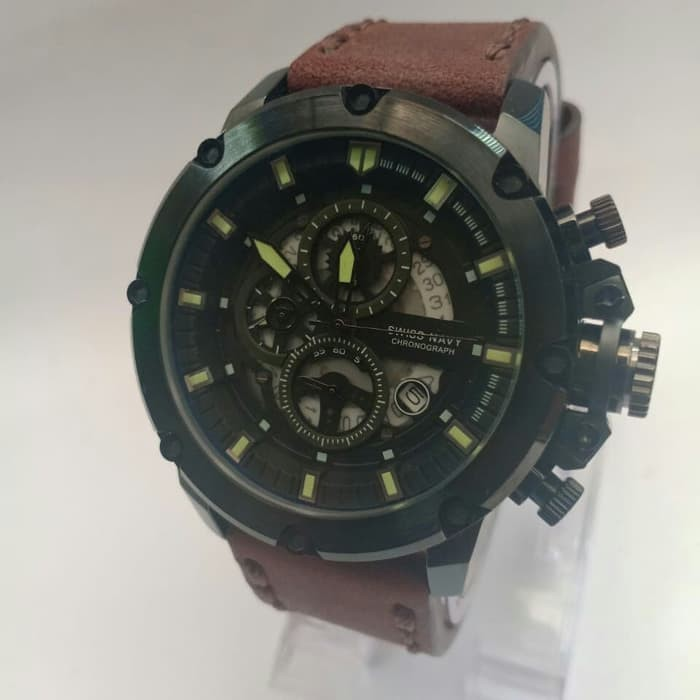 JAM TANGAN SWISS NAVY SN-6811 FULL BLACK LEATHER BROWN ORIGINAL