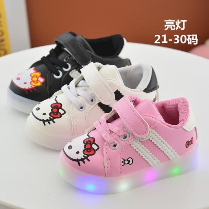 harga Sepatu kets anak led / short hello kitty led stripe - 29 hitam Tokopedia.com