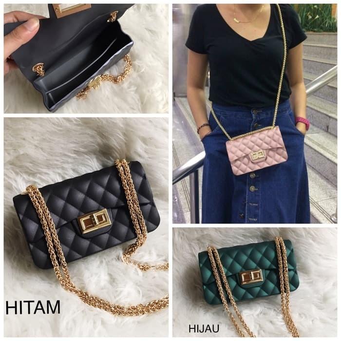 1723eb82c637 Jual Tas Chanel Classic Mini Jelly Matte Channel Import 18cm - Hitam ...