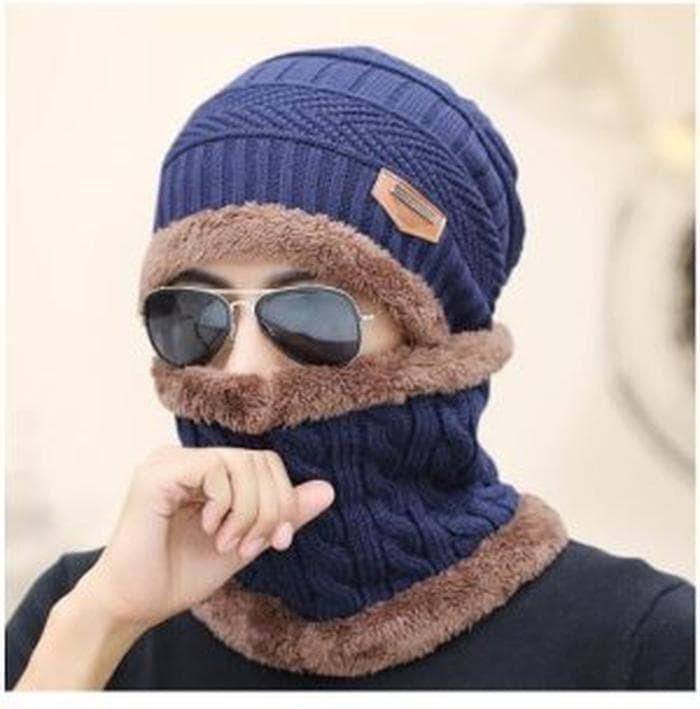 Jual STOK TERBARU Topi Kupluk Wool Rajut Musim Dingin Winter With S ... 69c8e5f47f