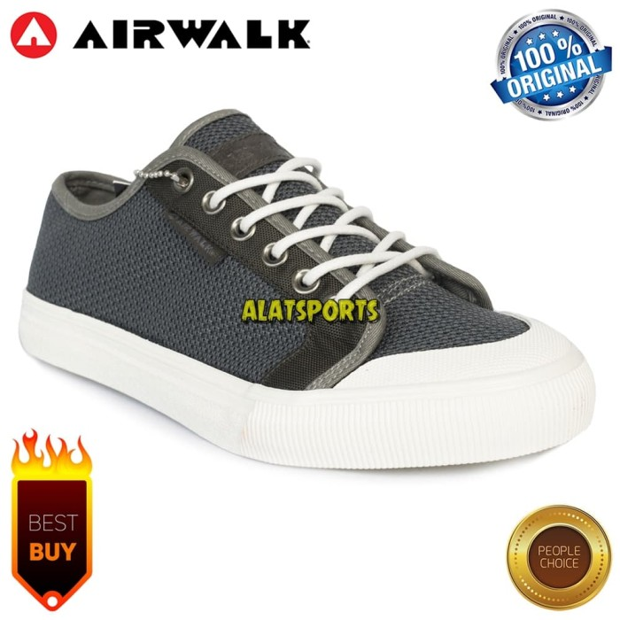 Sepatu Sneaker Pria Airwalk Keon AIW18CM0213G Grey ORIGINAL - Abu-abu 96ed0ddfbc