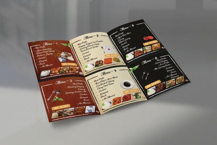 Jual Jasa Desain Brosur Untuk Menu Makanan Lipat 3 Ukuran A4 Bolak