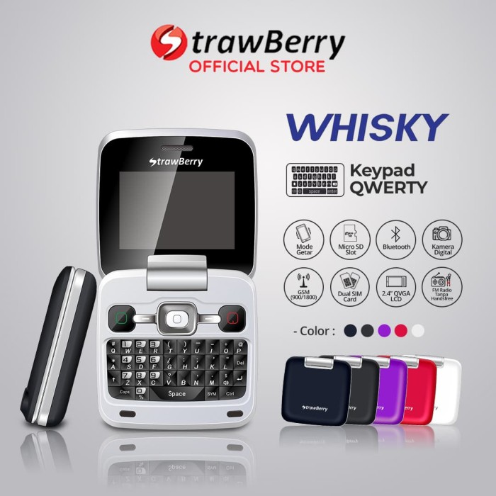 harga [fs] strawberry whisky | handphone flip hp murah bluetooth qwerty - hitam Tokopedia.com