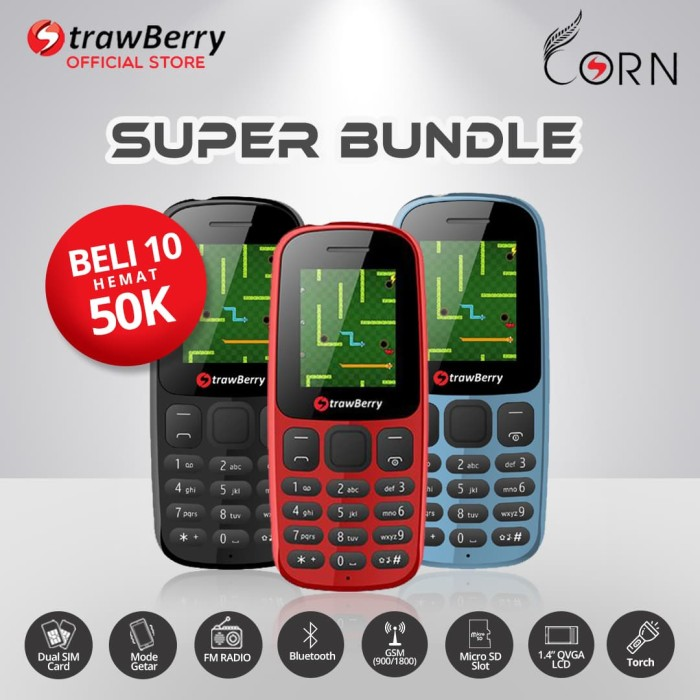 harga [fs] strawberry corn - paket bundle 10 / hp candybar / bluetooth Tokopedia.com