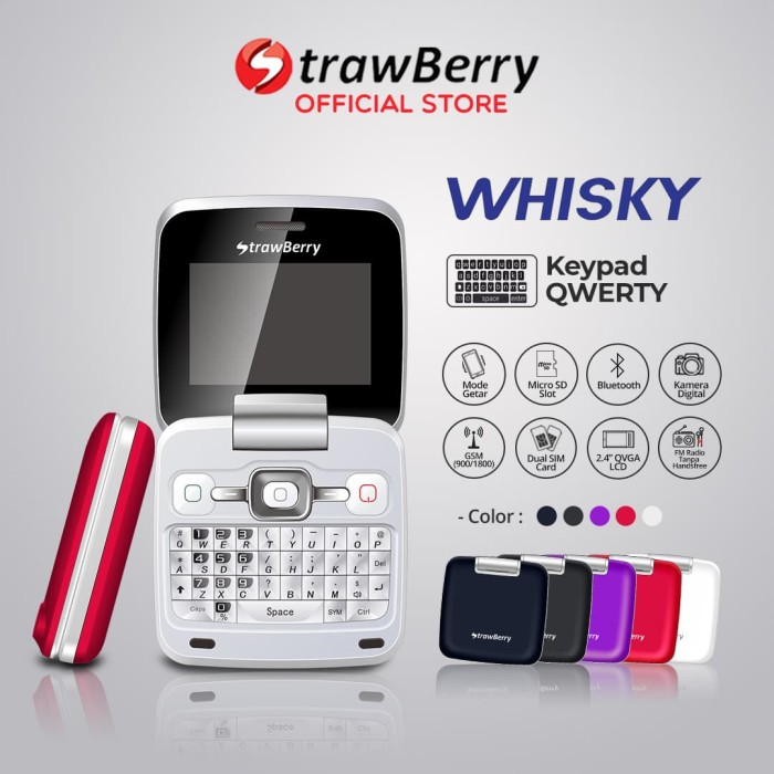harga [fs] strawberry whisky | handphone flip hp murah bluetooth qwerty - merah Tokopedia.com
