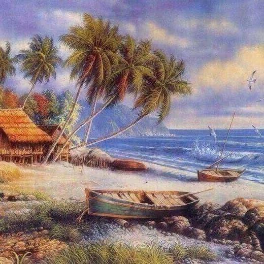 Jual Lukisan Susana Tepi Pantai Kab Klungkung Handmade Painting Bali Tokopedia