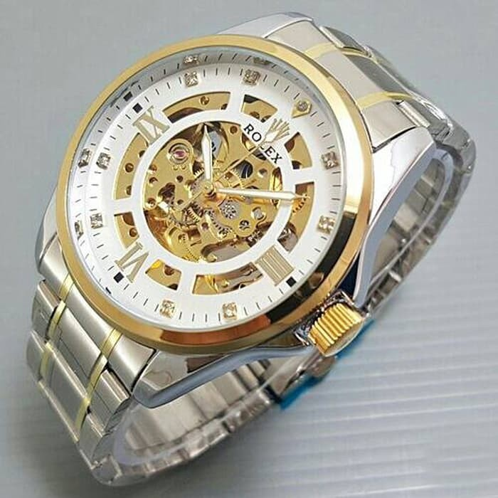 Jam tangan pria rolex skeleton big size diamond rantai kombi white
