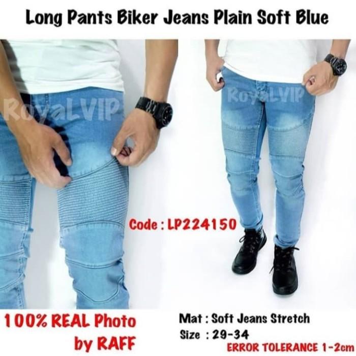 Long Pants Biker Jeans Plain Soft Blue - celana jeans panjang pria - Biru Muda