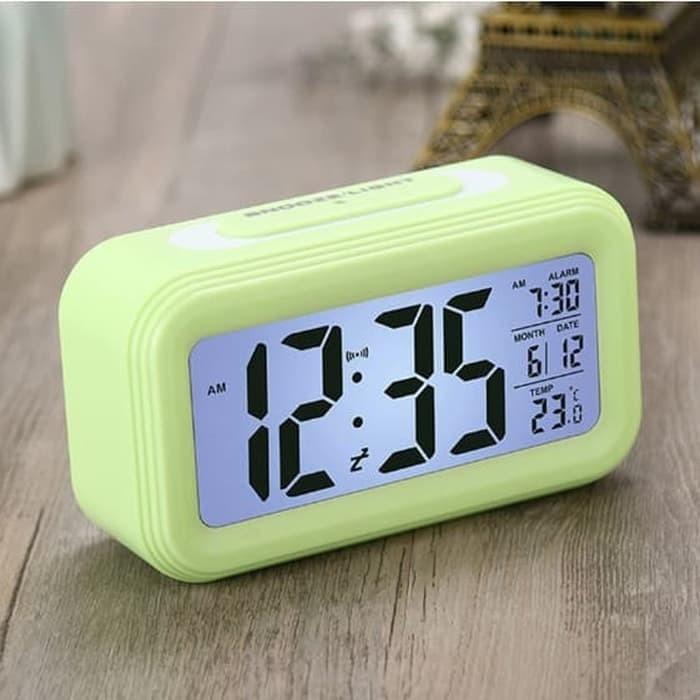 PROMO Jam Meja Digital Desktop Smart Clock Jam Meja Alarm Hitam