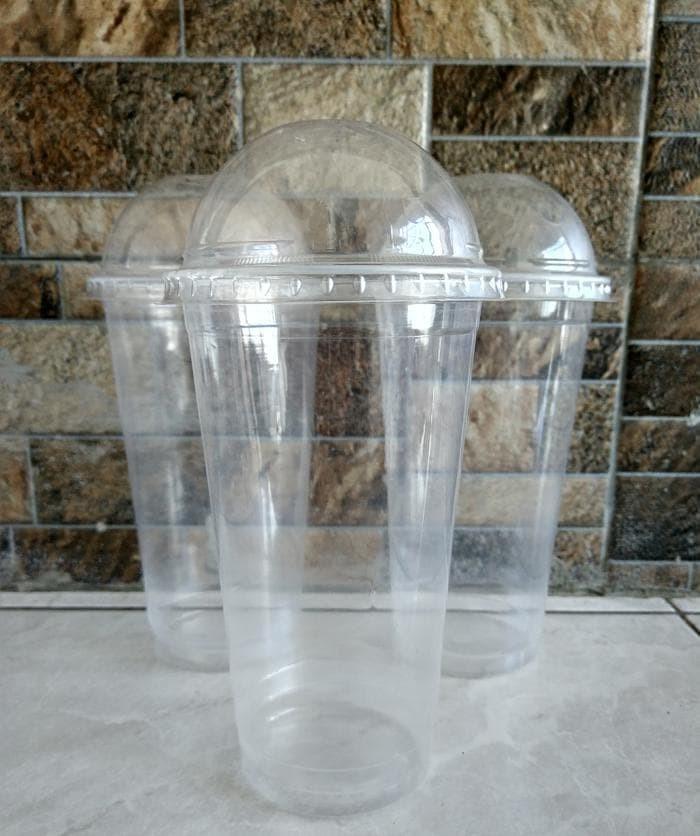 Gelas Plastik PP 22oz Plastic Cup PP 22 oz PLUS TUTUP CEMBUNG LID DOME