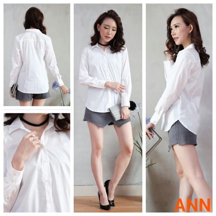 Baju branded bomfash- kemeja wanita lengan panjang- atasan putih polos