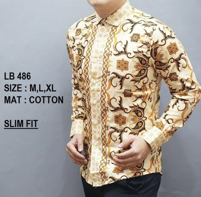 Harga Jual Kemeja Batik Slimfit Lengan Panjang LB 486 Di Jakarta ... 0d2699cb44