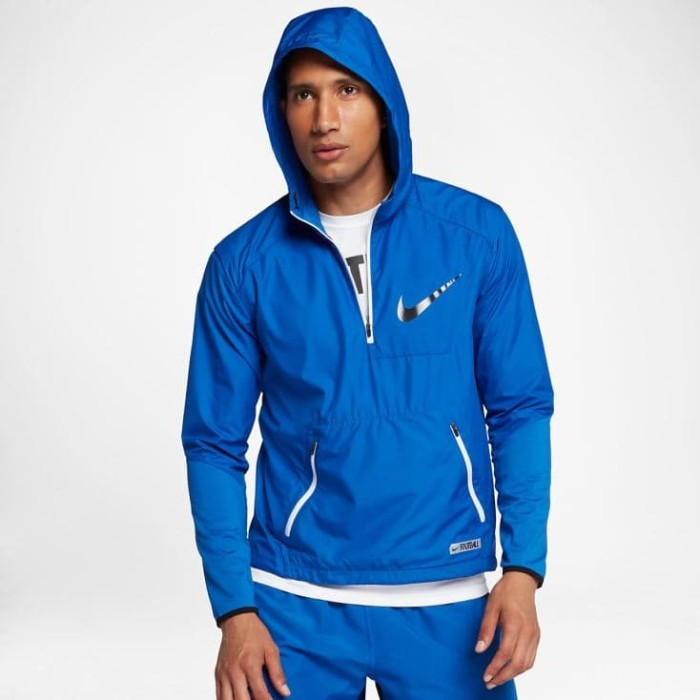 Jaket Bola Nike Original Shield Vapor Fly Rush Football Blue size M - Biru, M