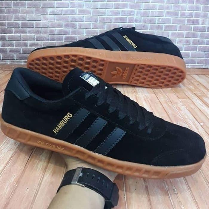 Jual Sepatu Pria Merk Adidas Motif Hamburg Warna Hitam