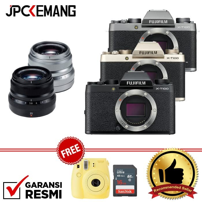 harga Fujifilm x-t100 / xt100 body + xf35mm f/2 garansi resmi - perak Tokopedia.com