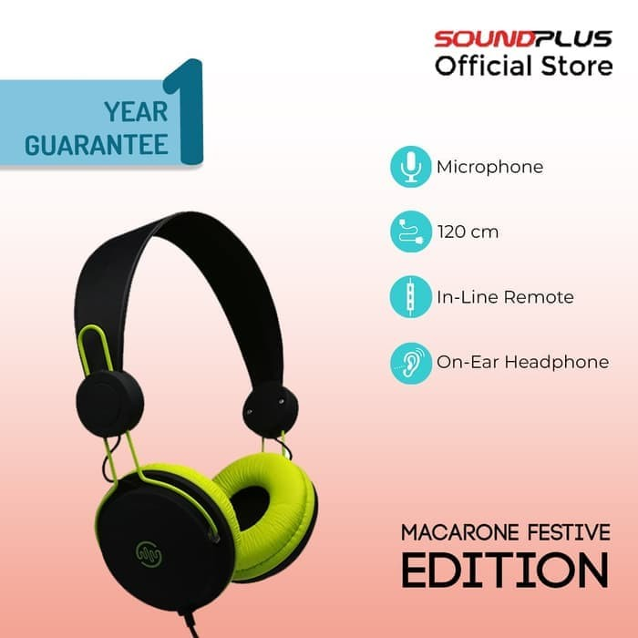 [FS] SoundPlus - Macaron Festive / Headphone Murah / With Microphone - Black Red
