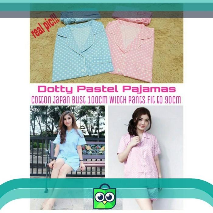 Foto Produk piyama 3/4 pajamas HP dotty polka polkadot onde pastel sleepwear dari Badhrika Store