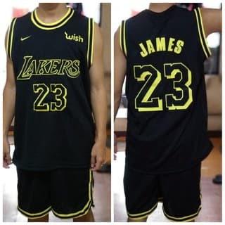 on sale b8877 a91f7 Jual [BEST SELLER] Jersey + Celana Basket NBA Lakers Black