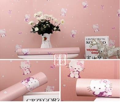 Jual Wallpaper Sticker Dinding Hello Kitty Merah 45cm X 10 M