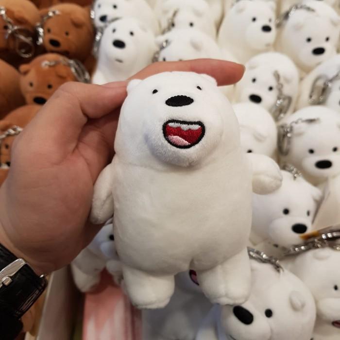 Miniso we bare bears keyring boneka doll stand berdiri keychain anak - Putih