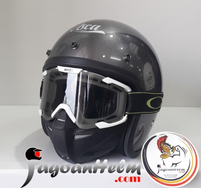 harga Asca helm retro | gunmetal + inko goggle mask | bubble solid Tokopedia.com