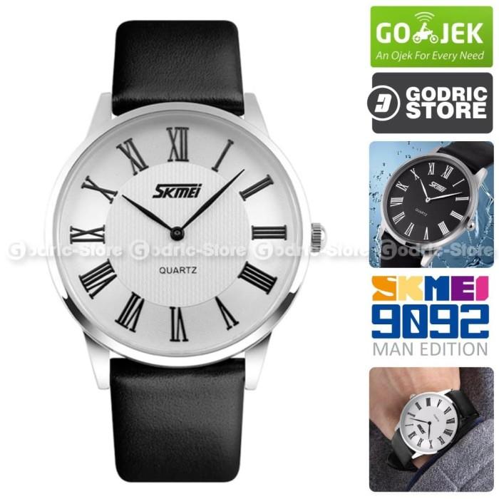 SKMEI 9092 Jam Tangan Pria Cowok Kulit Leather Casio Casual WR 30M - Hitam