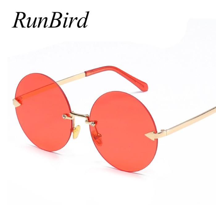 2ca4274eea71 Kacamata Bulat Terbaru RunBird Vintage Retro Round Rimless Sunglasses