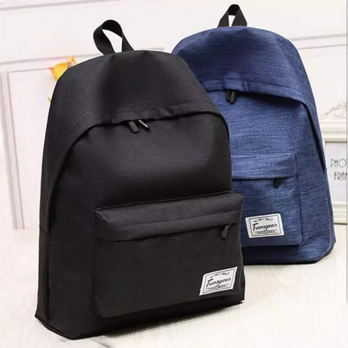 Foto Produk BP01 Korea Casual Canvas Backpack Pria Wanita / Tas Kuliah Sekolah - Hitam dari angel-city