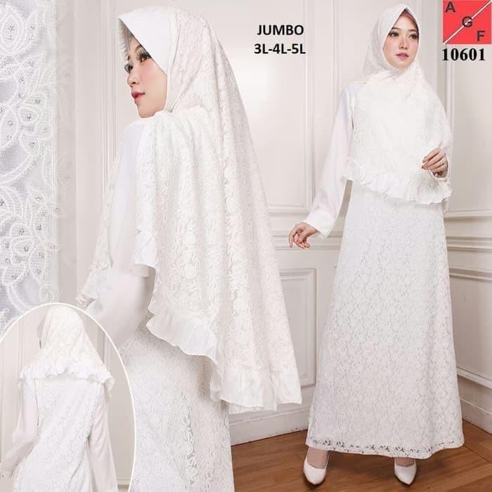 Jual Baju Gamis Syari Brokat Putih   Gamis Haji Umroh   Gamis Muslim ... 20e180a5bc