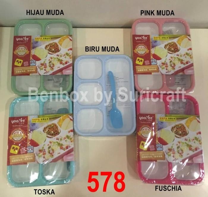 Terbatas Yooyee Lunch Box Kotak Makan Grid 4 Sekat 578 Anti Tumpah