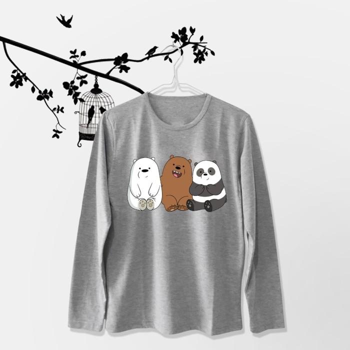 Foto Produk Tumblr Tee / T-Shirt / Kaos Wanita Lengan Panjang We Bare Bears Abu dari Ellipses.inc