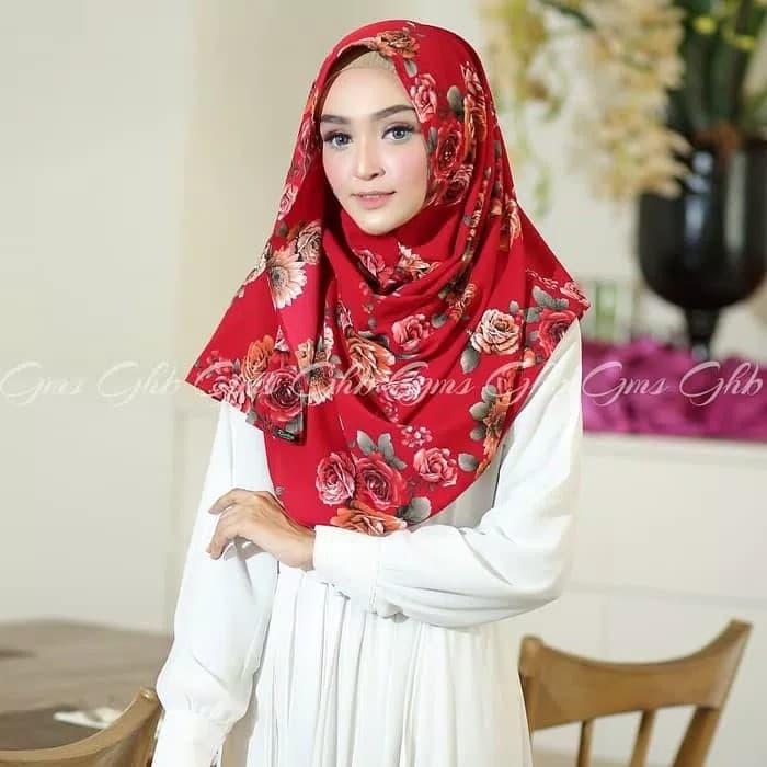 Jilbab hijab kerudung pashmina instan pastan davina motif bunga cantik