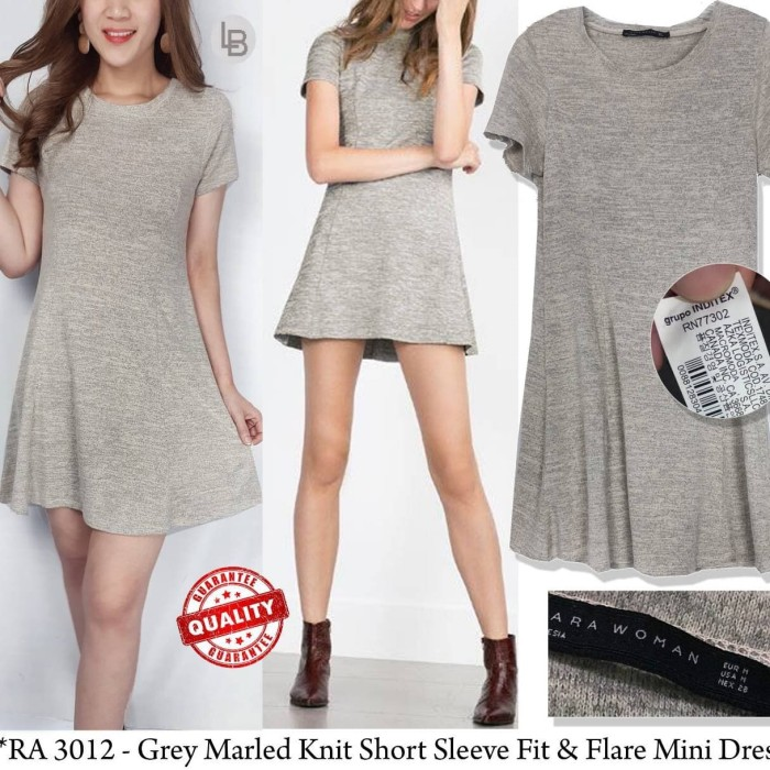 9eac2e10 LK2 Zara light grey marled knit short sleeve fit&flare midi dres - ,
