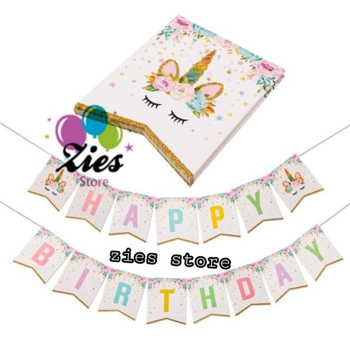 Foto Produk Banner happy birthday / bunting flag ulang tahun unicorn sparkling dari Zies store