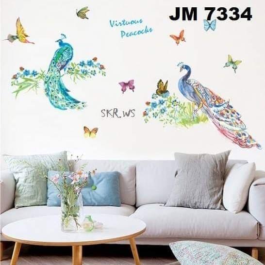 jual wall sticker 60x90 jm7334 2 merak hijau - kota kediri - sabrina
