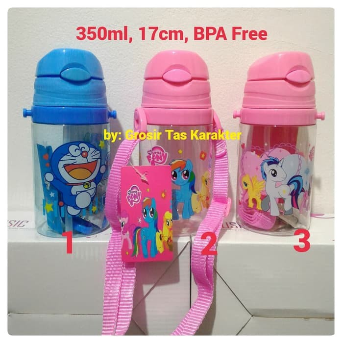 Botol Minum Anak Karakter Little Pony Doraemon 350ml Te Berkualitas
