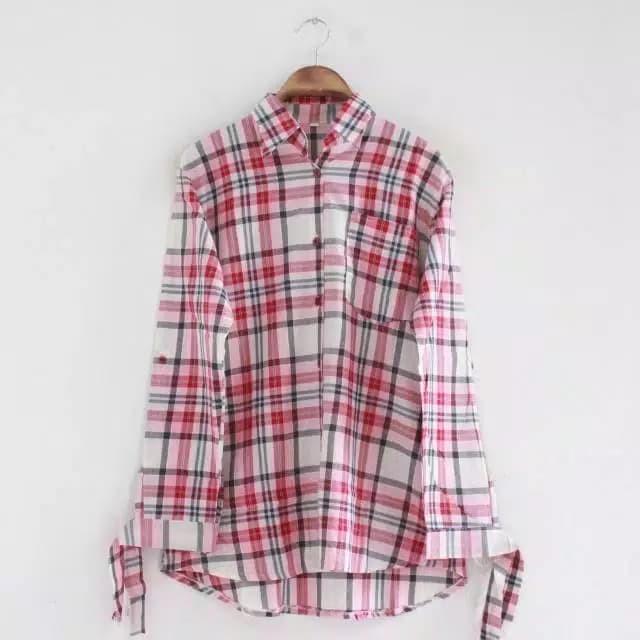 ... harga Baju atasan wanita kemeja flanel kotak lengan ikat jumbo top seller Tokopedia.com
