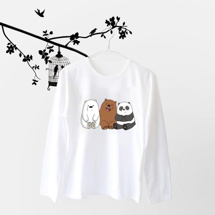 Foto Produk Tumblr Tee / T-Shirt / Kaos Wanita Lengan Panjang We Bare Bears Putih dari Ellipses.inc