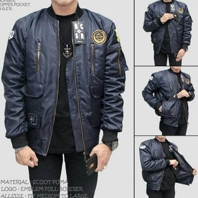Jaket Bomber Pria Premium Pocket Zipper Bgsr Biru Navy