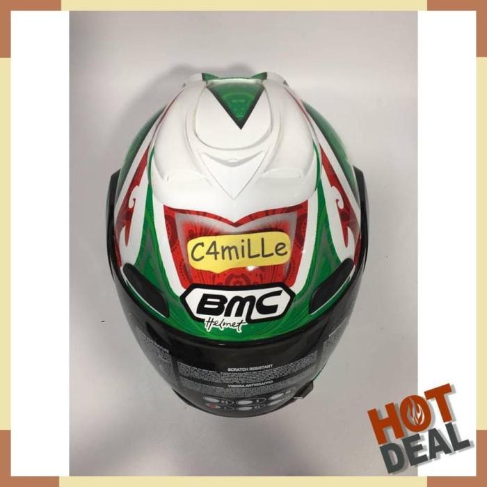 HELM BMC JAZZ #12 WHITE RED GREEN FULL FACE