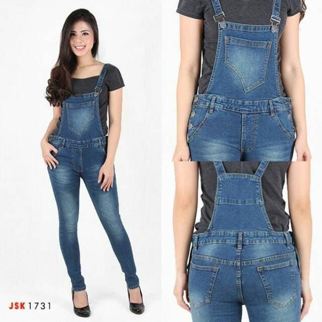 Jual S Trendy Celana Kodok Panjang Overall Skinny Jeans Denim