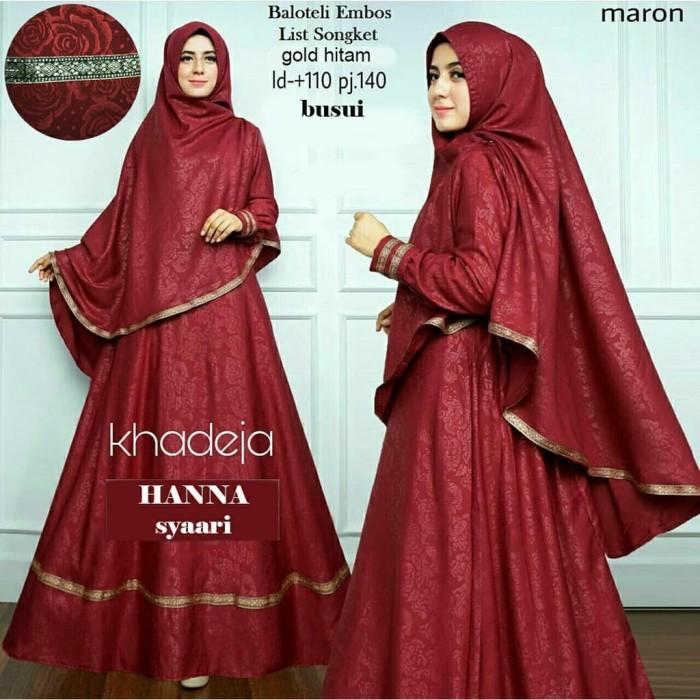 Jual Baju Atasan Gamis Wanita Muslim Hanna Syari Dress Pesta