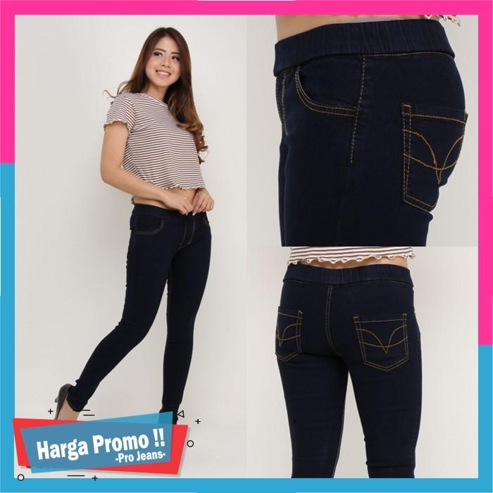 Celana Legging Jeans Celana Leging Wanita Pinggang Karet Dongker navy