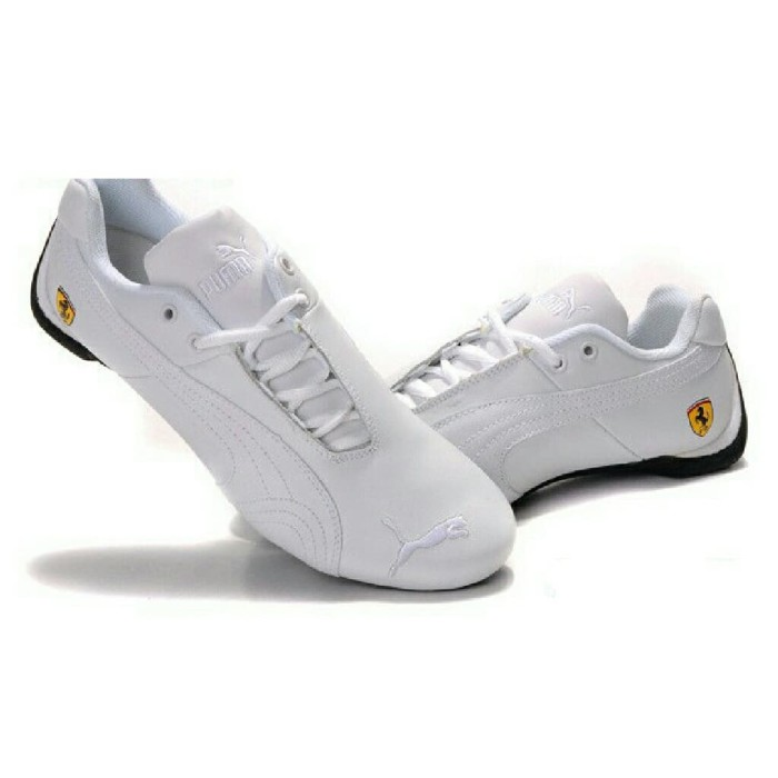 Sepatu Puma Ferrari Full White Leather Original Sneakers Shoes